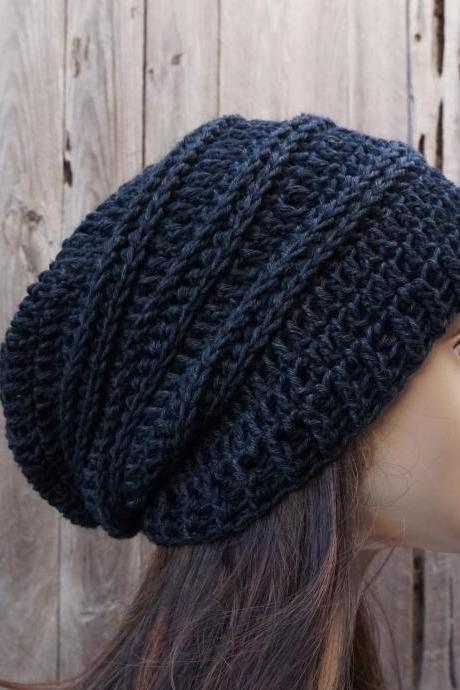 Crochet Hat - Slouchy Hat -Black- Winter Accessories Autumn Accessories Fall Fashion