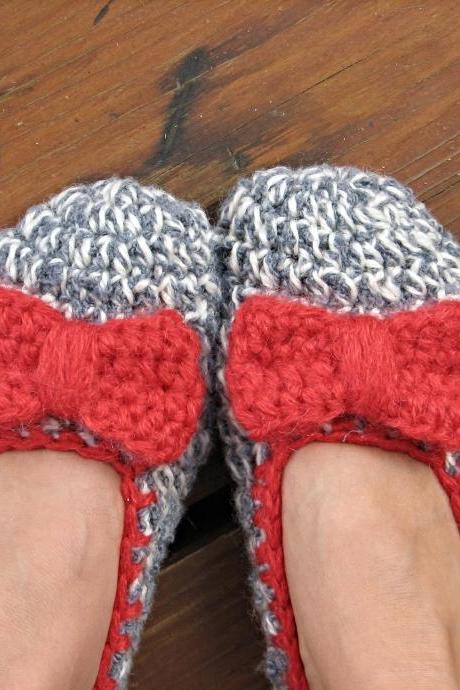 Crochet Women Slippers with red bow, Accessories, Adult Crochet Slippers, Home Shoes, Crochet Women Slippers