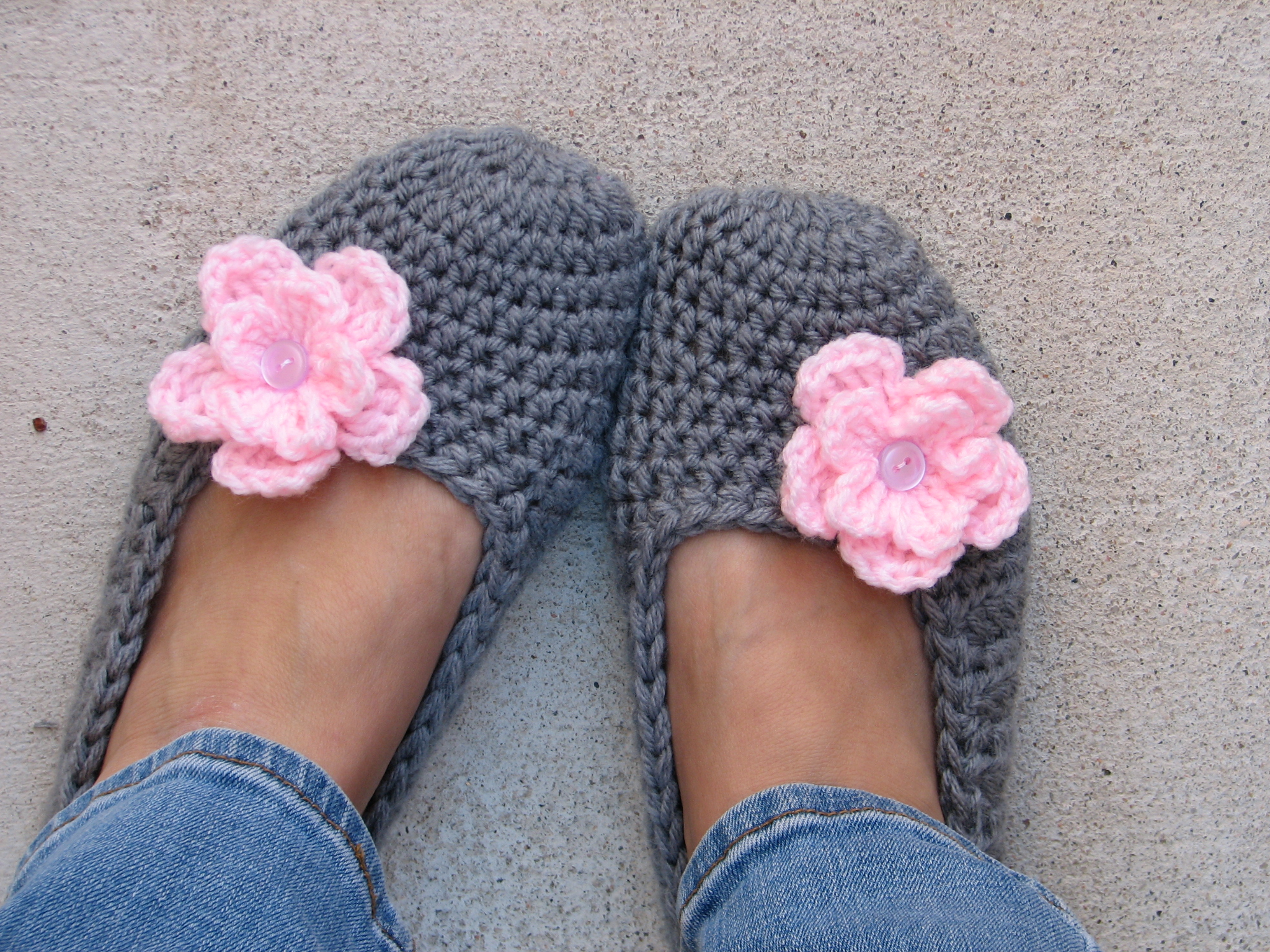 0ee27e5889f0d Crochet Women Slippers - Grey With Pink Flower, Accessories, Adult Crochet  Slippers, Home Shoes, Crochet Women Slippers
